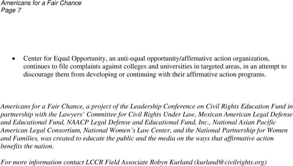 Americans for a Fair Chance, a project of the Leadership Conference on Civil Rights Education Fund in partnership with the Lawyers Committee for Civil Rights Under Law, Mexican American Legal Defense