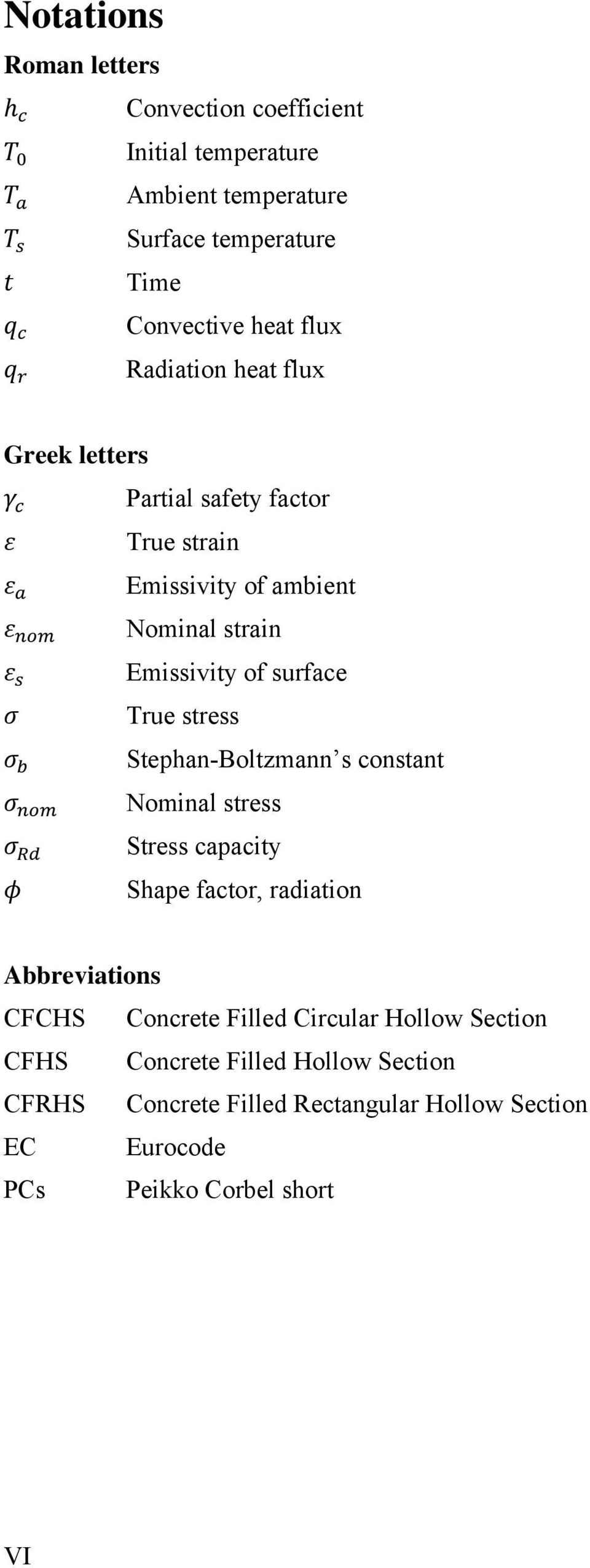 stress Stephan-Boltzmann s constant Nominal stress Stress capacity Shape factor, radiation Abbreviations CFCHS Concrete Filled