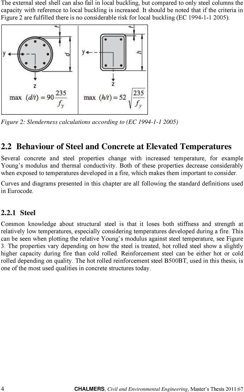 Figure 2: Slenderness calculations according to (EC 1994-1-1 2005) 2.
