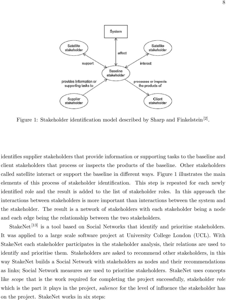 Other stakeholders called satellite interact or support the baseline in different ways. Figure 1 illustrates the main elements of this process of stakeholder identification.