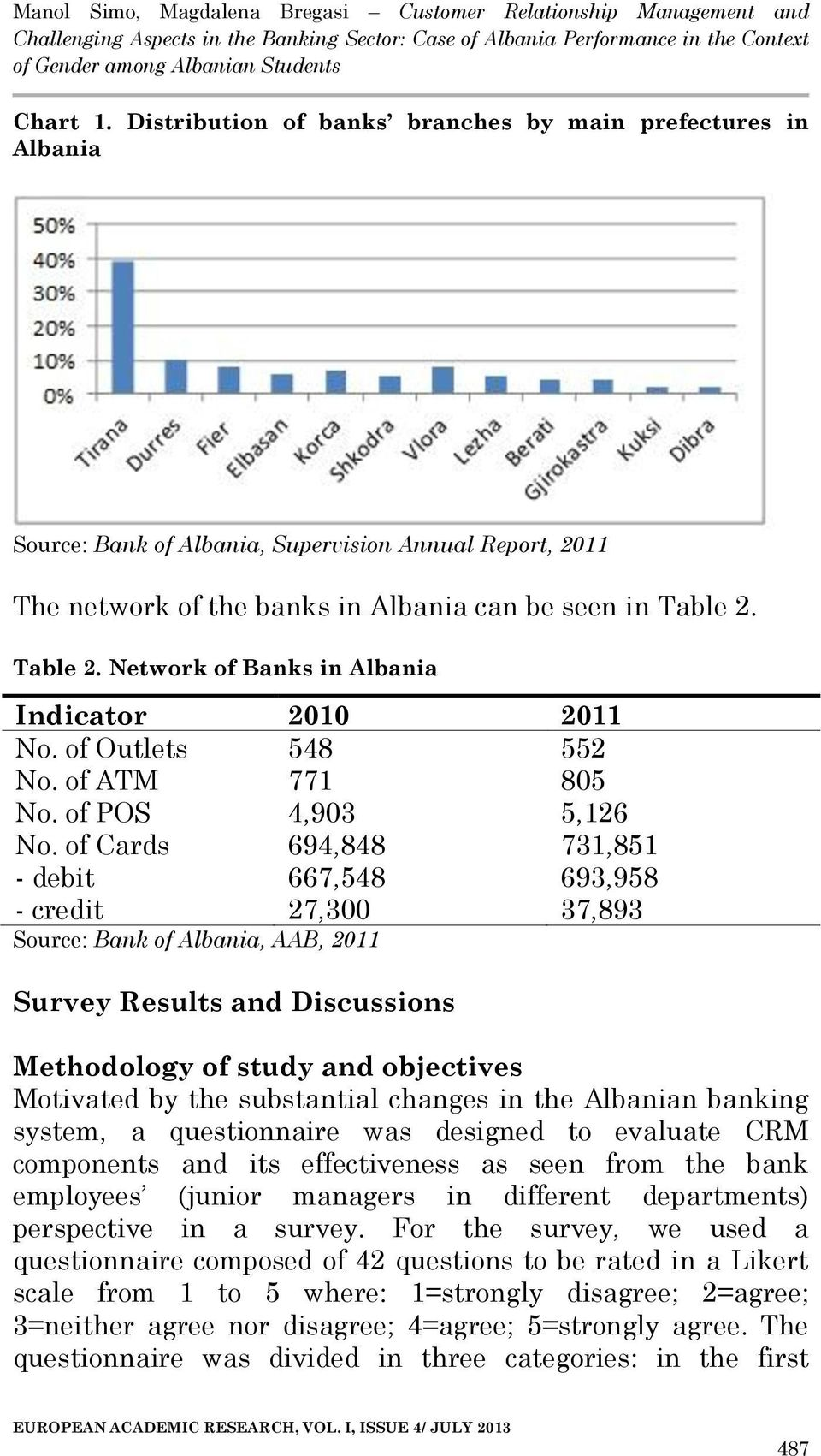 of Cards 694,848 731,851 - debit 667,548 693,958 - credit 27,300 37,893 Source: Bank of Albania, AAB, 2011 Survey Results and Discussions Methodology of study and objectives Motivated by the