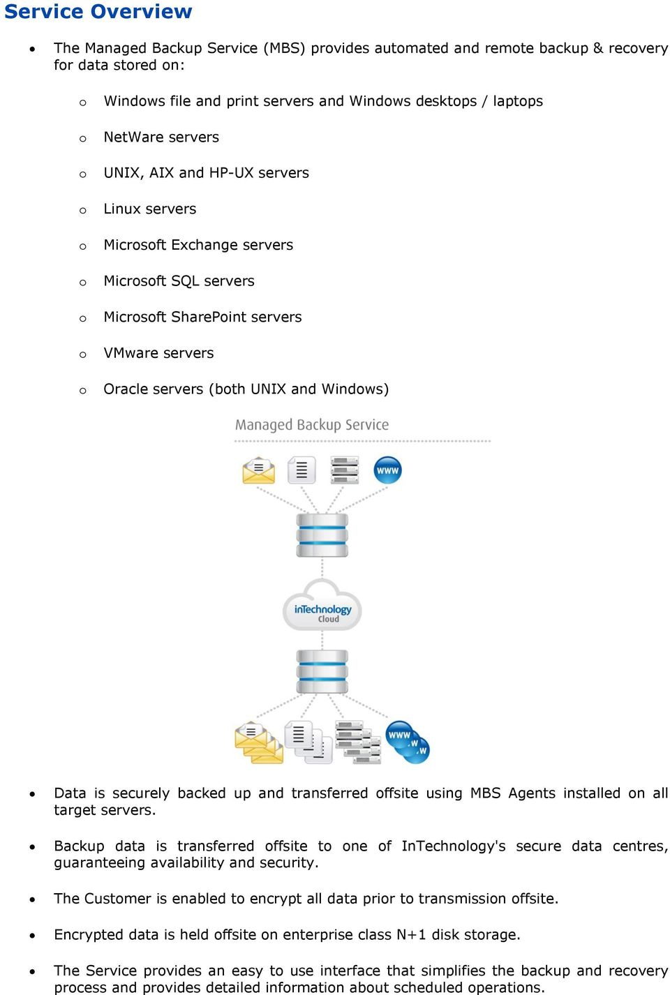securely backed up and transferred offsite using MBS Agents installed on all target servers.