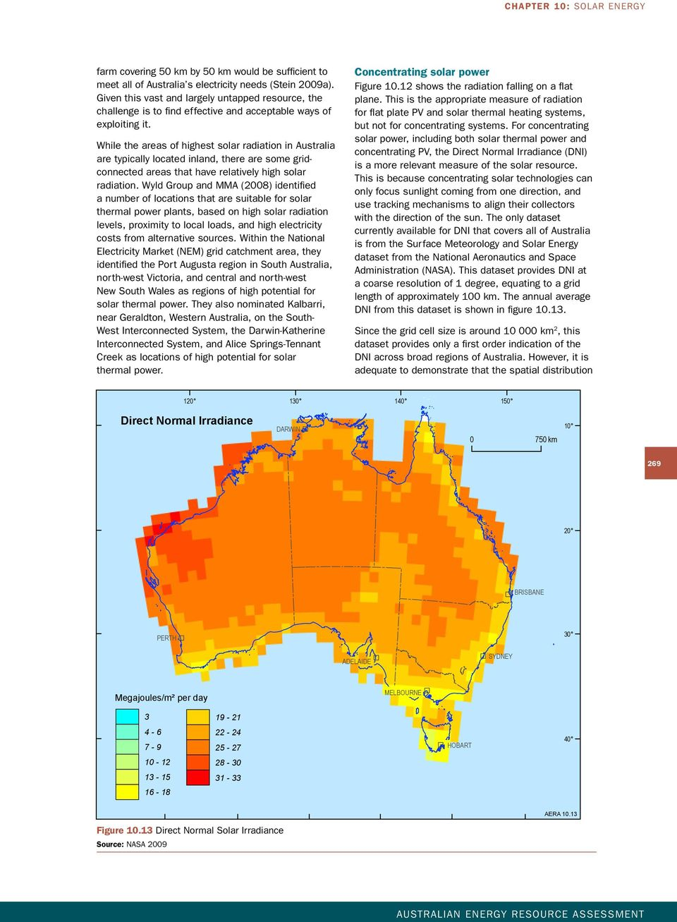 While the areas of highest solar radiation in Australia are typically located inland, there are some gridconnected areas that have relatively high solar radiation.