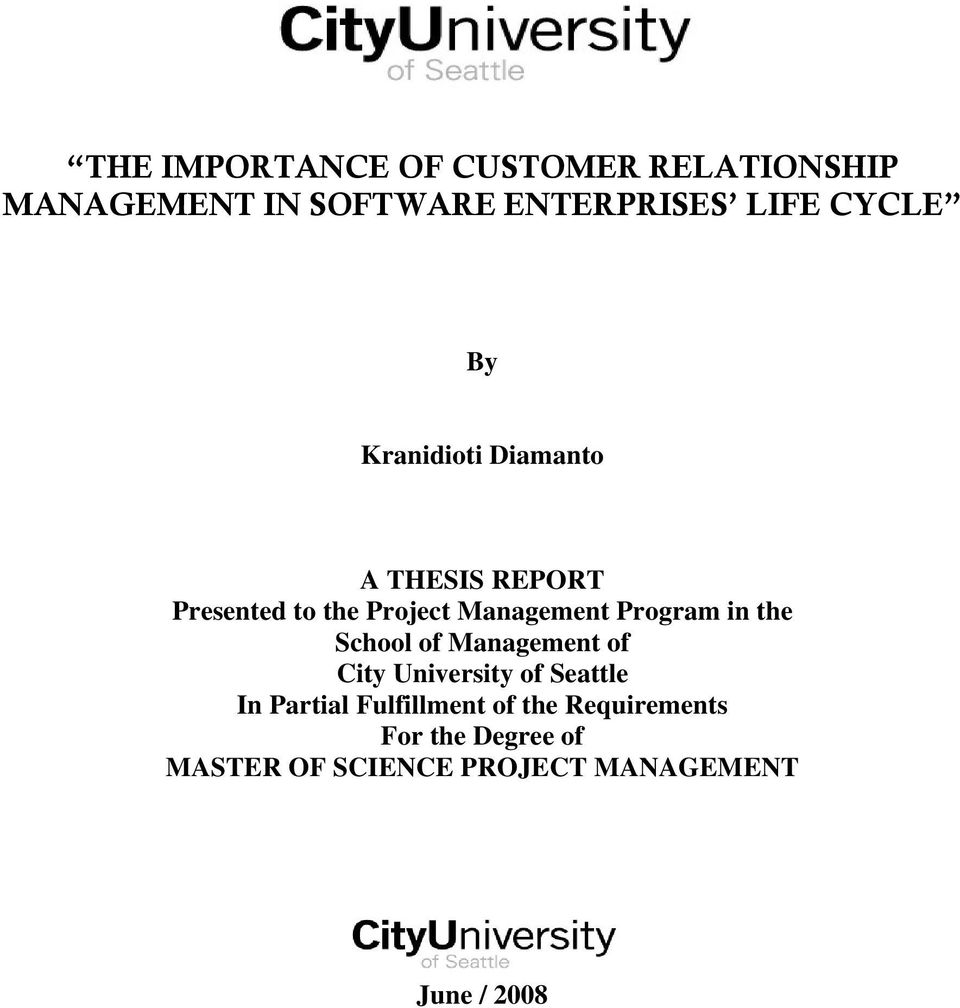 Program in the School of Management of City University of Seattle In Partial