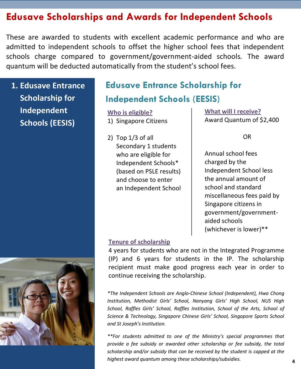 Edusave Entrance Scholarship for Independent Schools (EESIS) Edusave Entrance Scholarship for Independent Schools (EESIS) 1) Singapore Citizens Award Quantum of $2,400 2) Top 1/3 of all Secondary 1