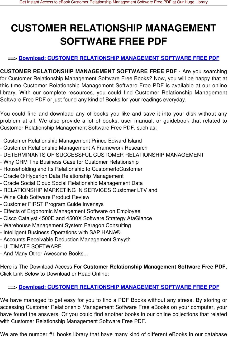 With our complete resources, you could find Customer Relationship Management Software Free PDF or just found any kind of Books for your readings everyday.