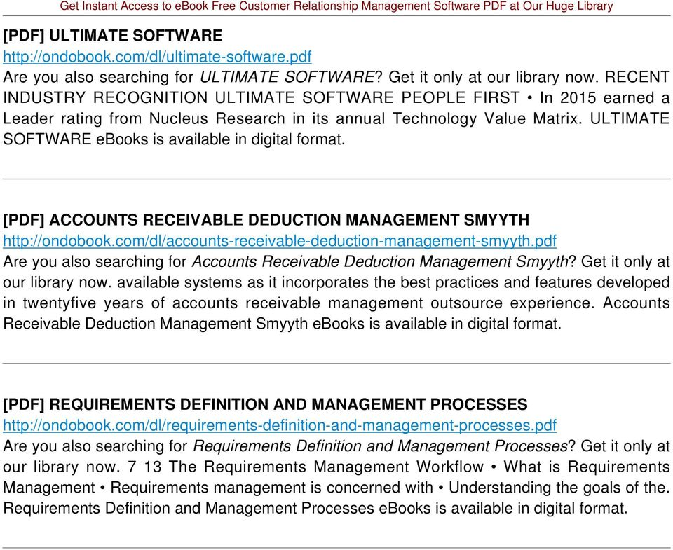 ULTIMATE SOFTWARE ebooks is available in digital [PDF] ACCOUNTS RECEIVABLE DEDUCTION MANAGEMENT SMYYTH http://ondobook.com/dl/accounts-receivable-deduction-management-smyyth.