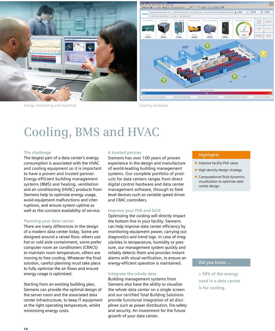 Energy-efficient building management systems (BMS) and heating, ventilation and air conditioning (HVAC) products from Siemens help to optimize energy usage, avoid equipment malfunctions and