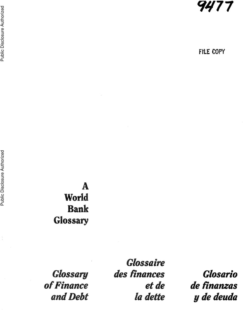 Authorized A World Bank Glossary Glossa re Glossary des