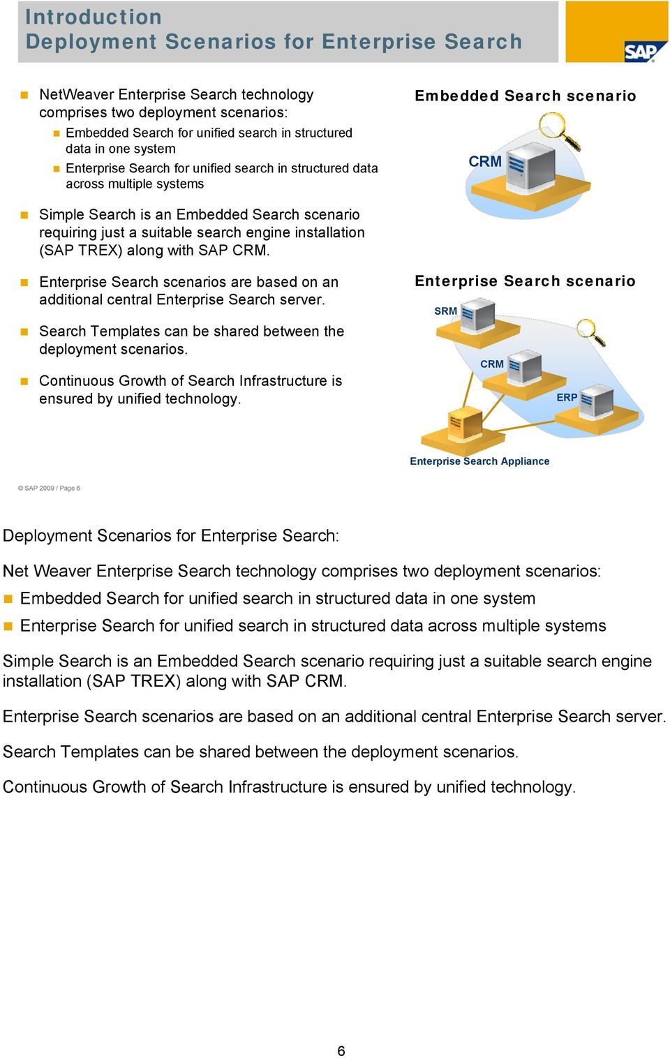 installation (SAP TREX) along with SAP CRM. Enterprise Search scenarios are based on an additional central Enterprise Search server. Search Templates can be shared between the deployment scenarios.