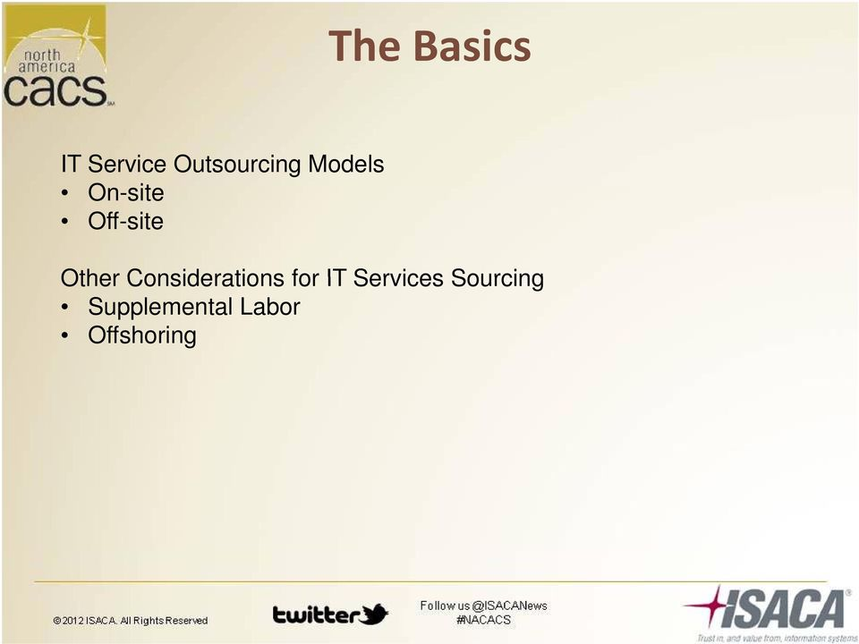 Services Sourcing Other Considerations for