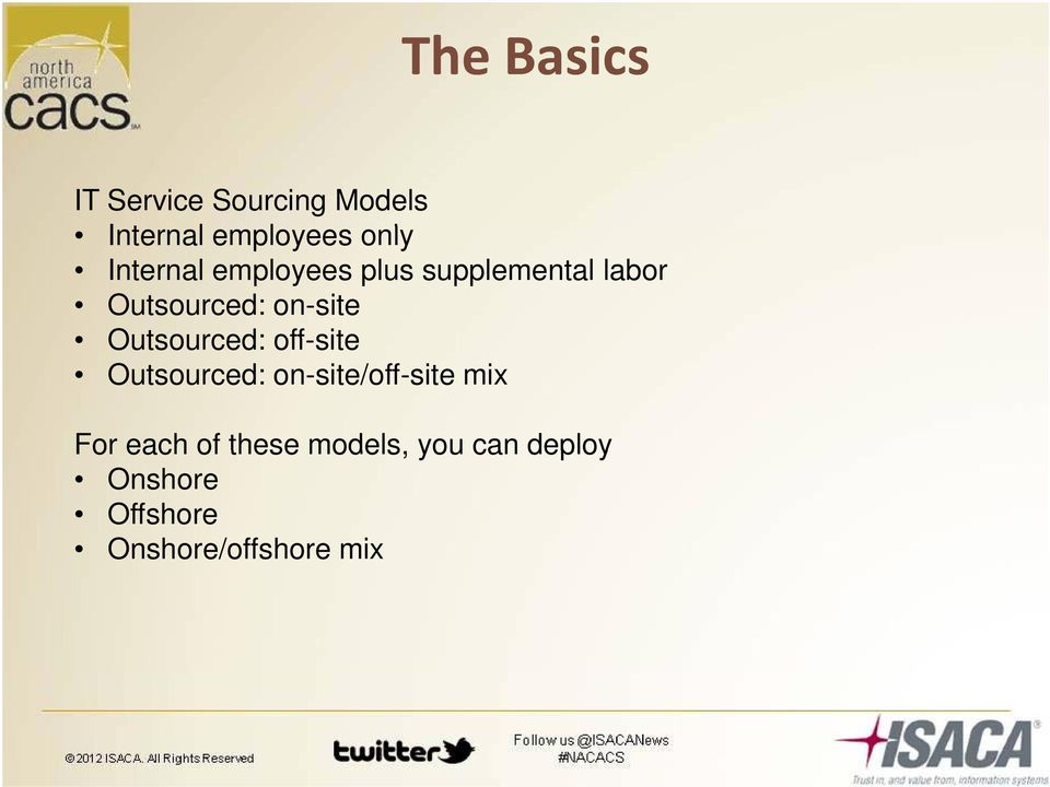 Outsourced: on-site/off-site mix For each of these models you can deploy