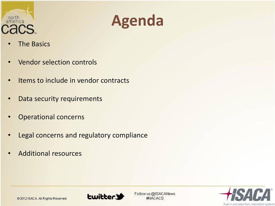 security requirements Operational concerns