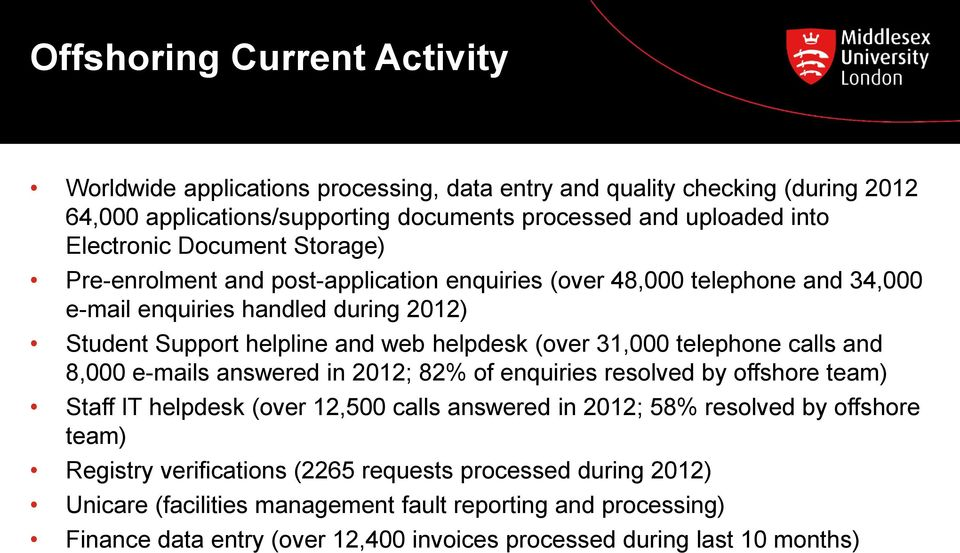 telephone calls and 8,000 e-mails answered in 2012; 82% of enquiries resolved by offshore team) Staff IT helpdesk (over 12,500 calls answered in 2012; 58% resolved by offshore team)