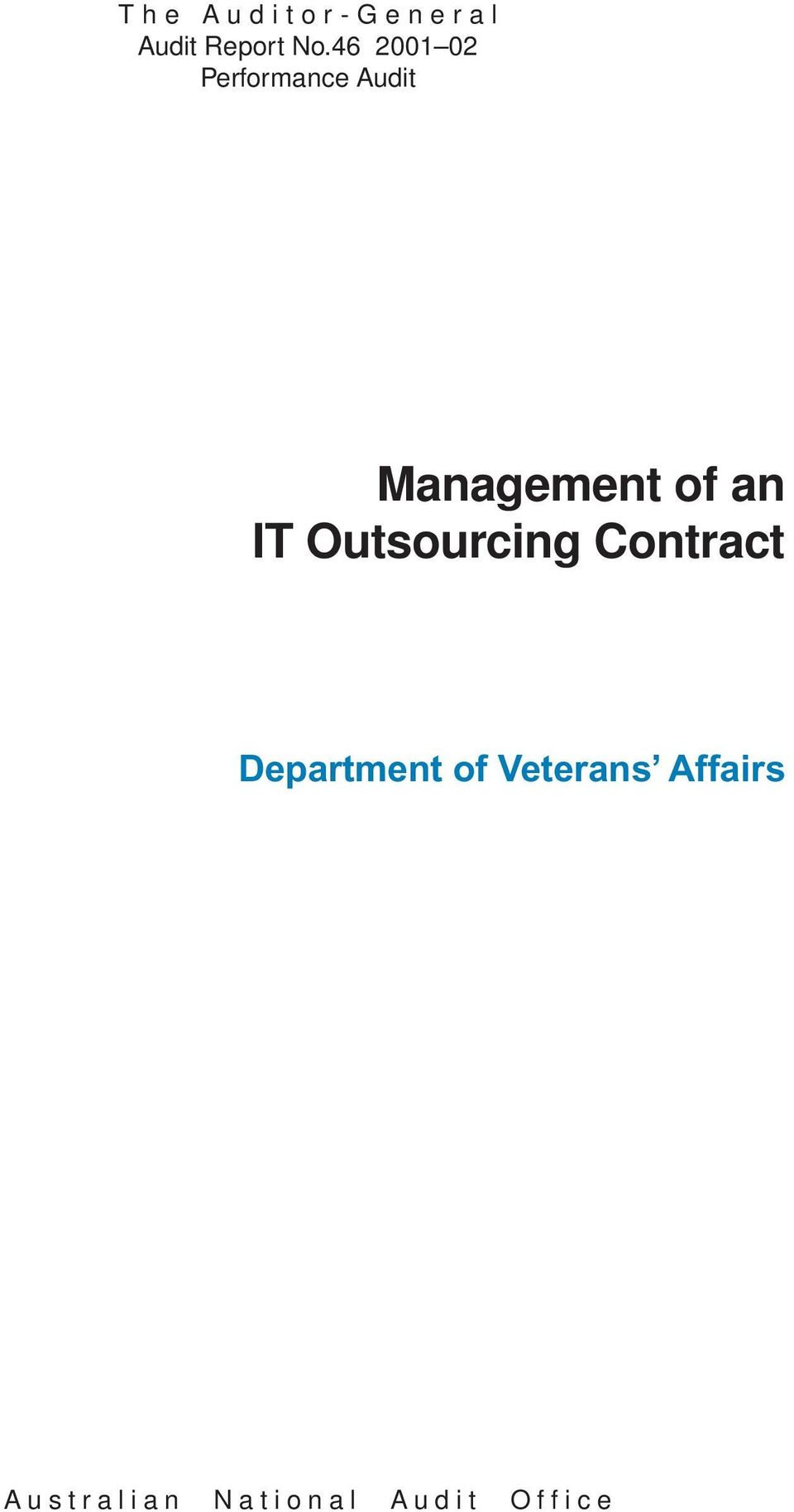 an IT Outsourcing Contract Department of