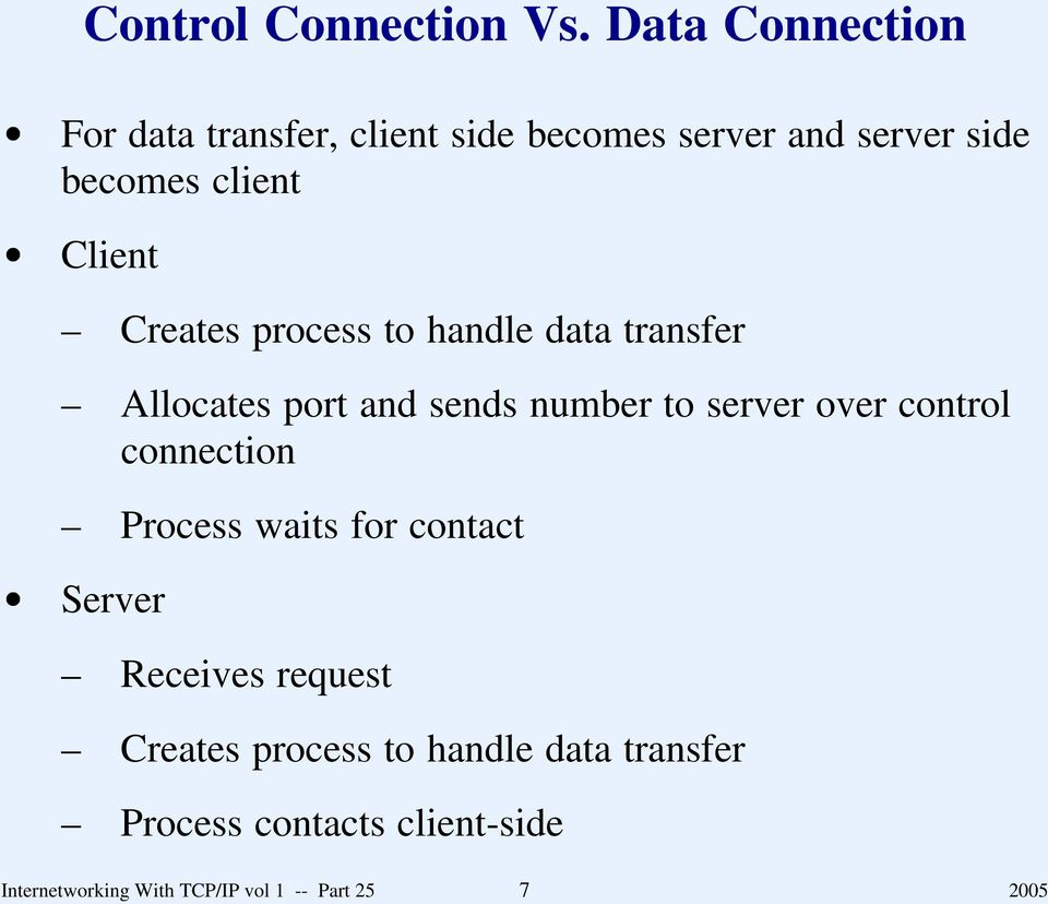 Creates process to hanle ata transfer Allocates port an sens number to server over control