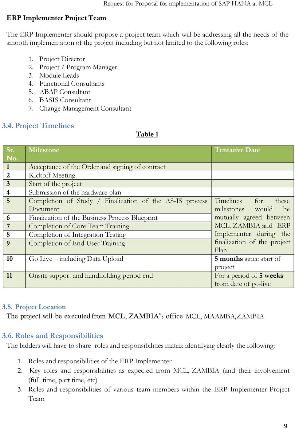 BASIS Consultant 7. Change Management Consultant 3.4. Project Timelines Table 1 Sr. Milestone No.