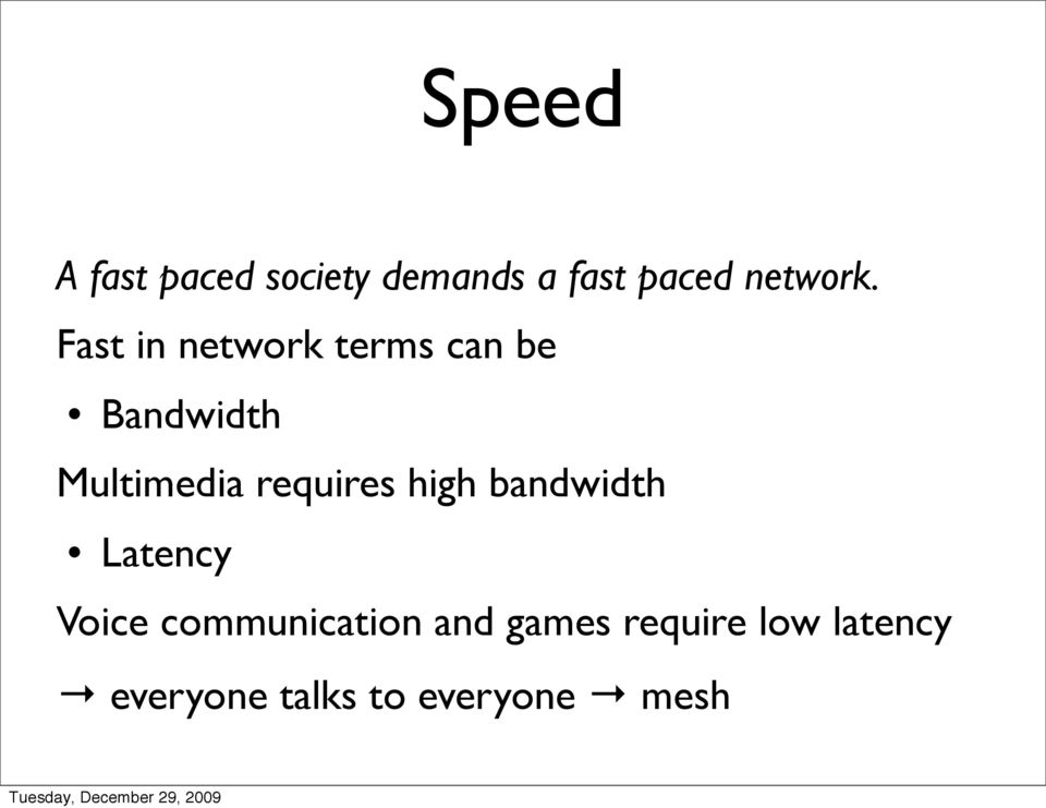 Fast in network terms can be Bandwidth Multimedia