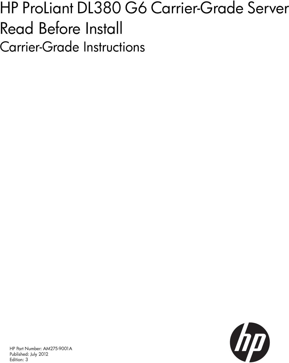 Carrier-Grade Instructions HP Part