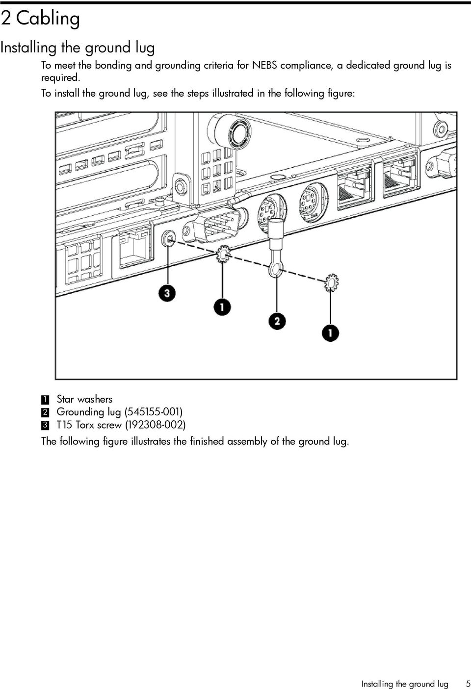To install the ground lug, see the steps illustrated in the following figure: 1 Star washers 2