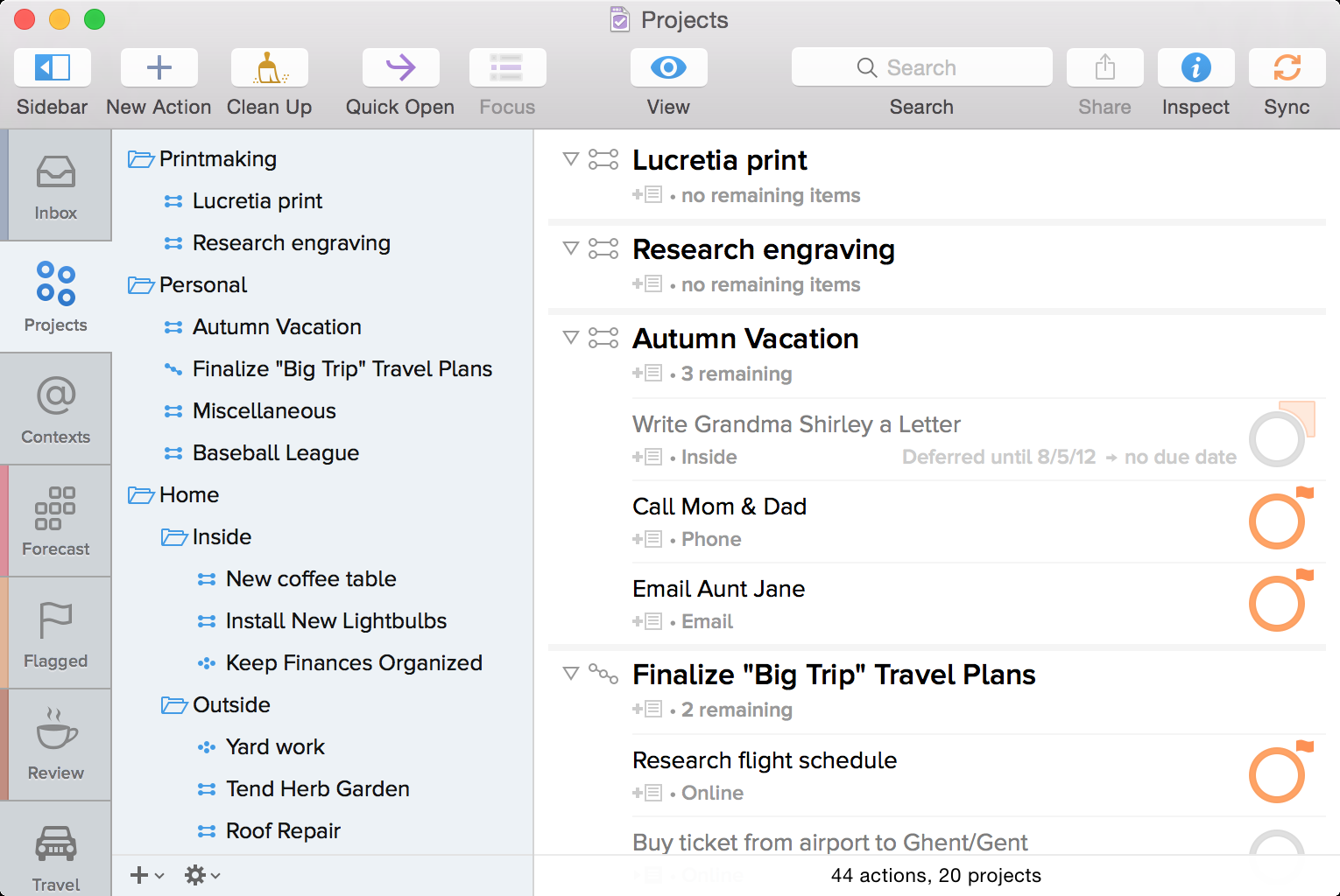 This section will elaborate on the basics of GTD in OmniFocus. 1 2 1 Inbox: This is a place to capture your stuff.