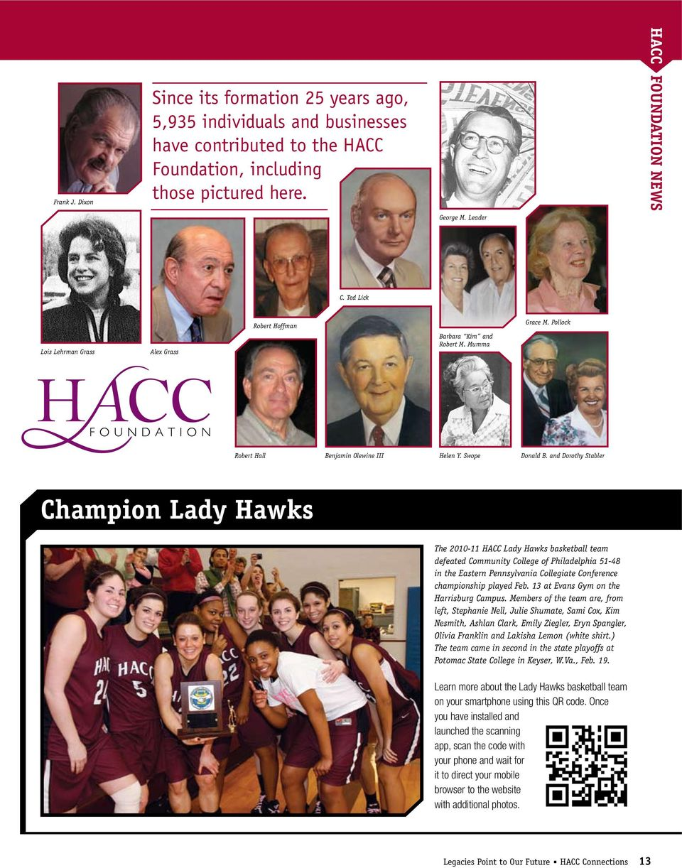and Dorothy Stabler Champion Lady Hawks The 2010-11 HACC Lady Hawks basketball team defeated Community College of Philadelphia 51-48 in the Eastern Pennsylvania Collegiate Conference championship