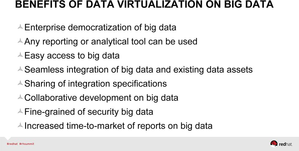 big data and existing data assets Sharing of integration specifications Collaborative