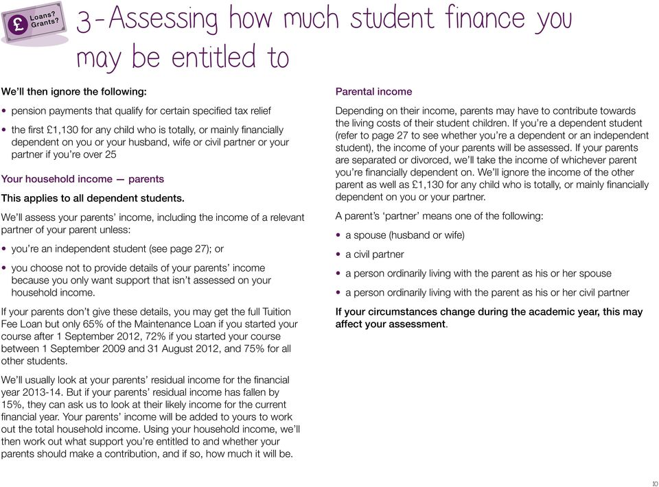 We ll assess your parents income, including the income of a relevant partner of your parent unless: you re an independent student (see page 27); or you choose not to provide details of your parents