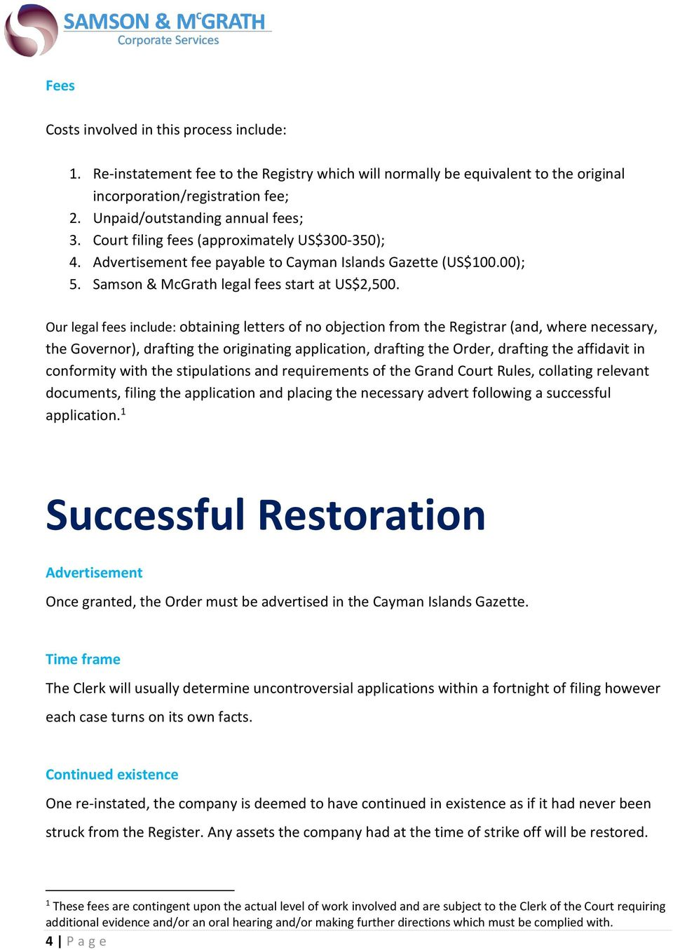 GUIDE Cayman Islands RESTORATION OF CAYMAN COMPANY POSTSTRIKE OFF – No Objection Letter from Company