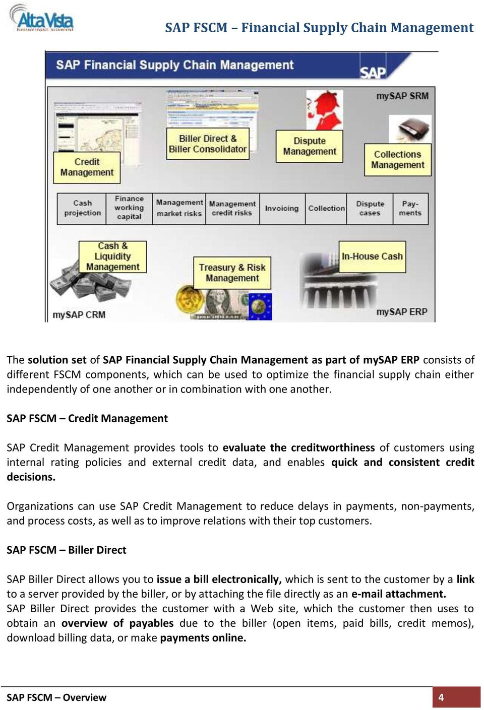 SAP FSCM Credit Management SAP Credit Management provides tools to evaluate the creditworthiness of customers using internal rating policies and external credit data, and enables quick and consistent