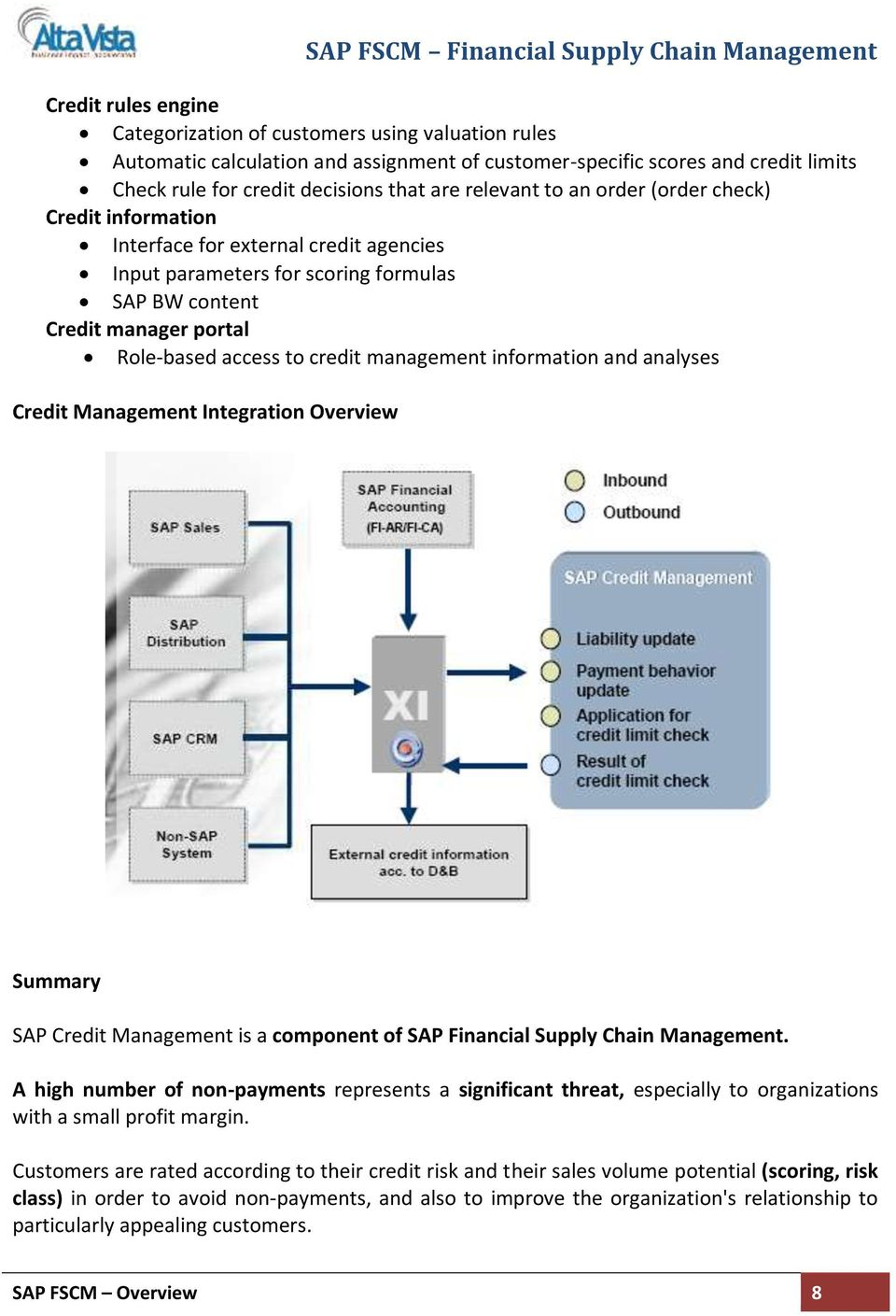 management information and analyses Credit Management Integration Overview Summary SAP Credit Management is a component of SAP Financial Supply Chain Management.