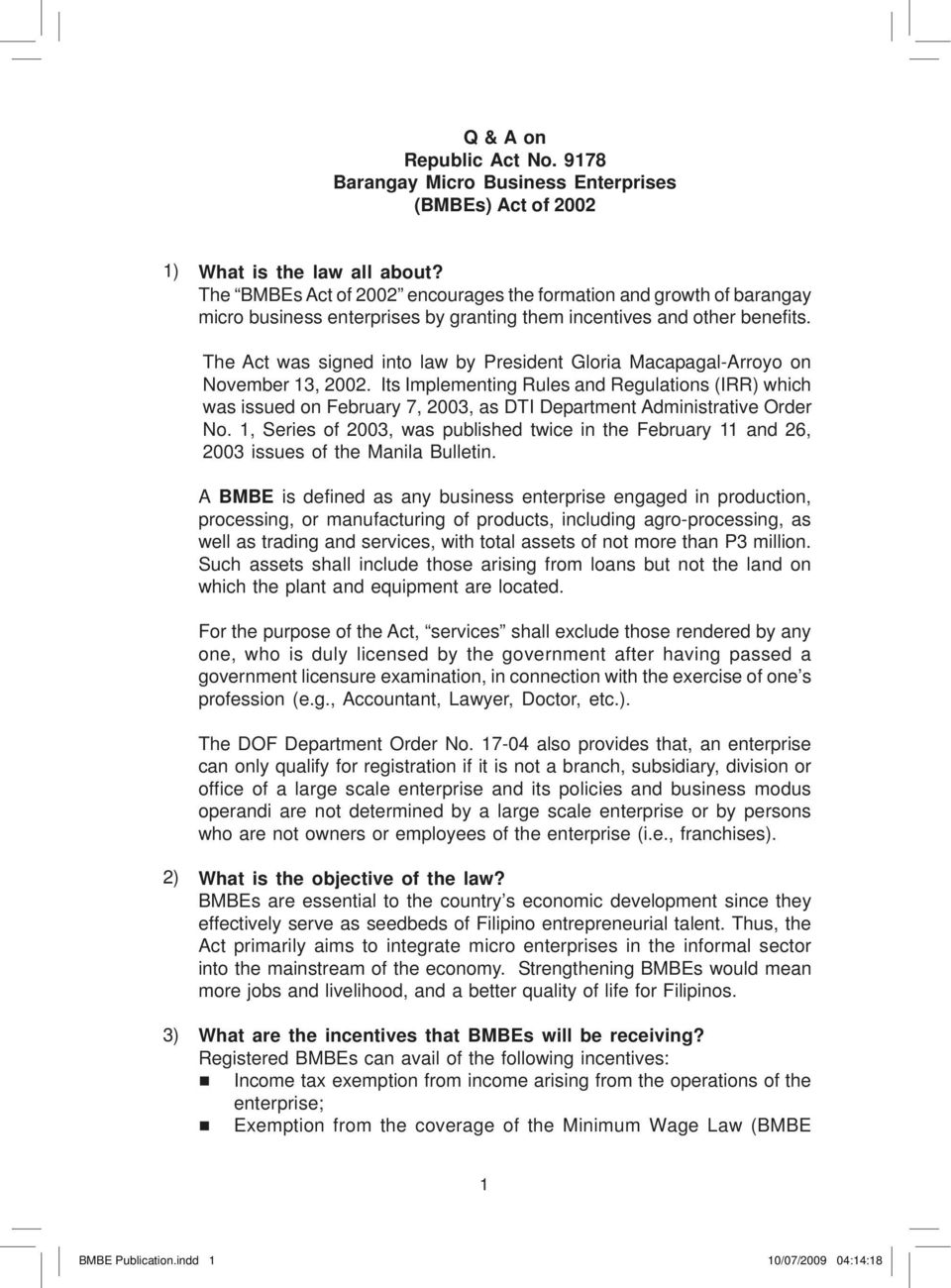 BMBE Law – Barangay Micro Business Enterprise Registration and Benefits