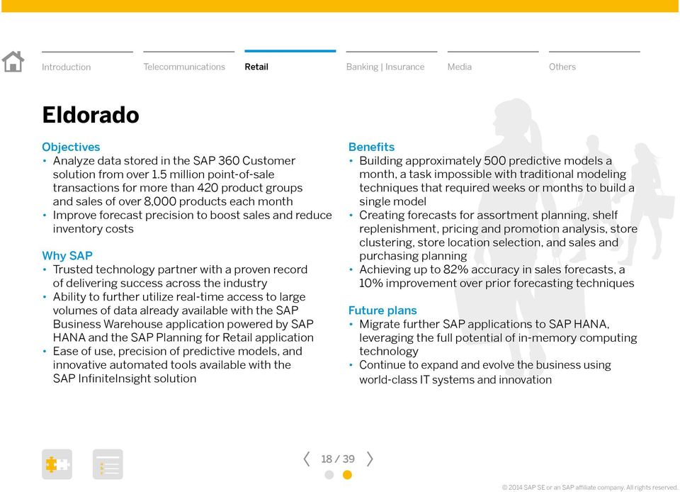 with proven reord of delivering suess ross the industry Aility to further utilize rel-time ess to lrge volumes of dt lredy ville with the SAP Business Wrehouse pplition powered y SAP HANA nd the SAP