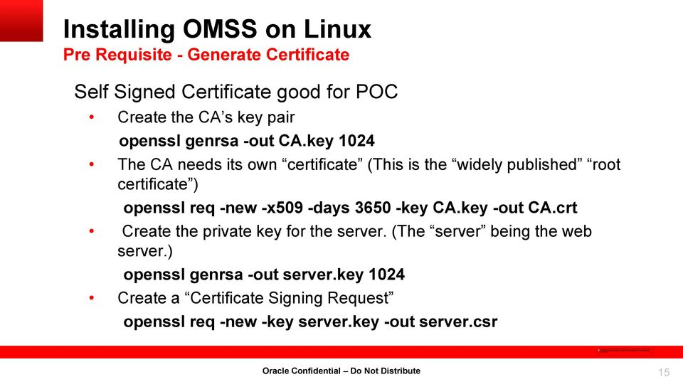 key 1024 The CA needs its own certificate (This is the widely published root certificate ) openssl req -new -x509 -days