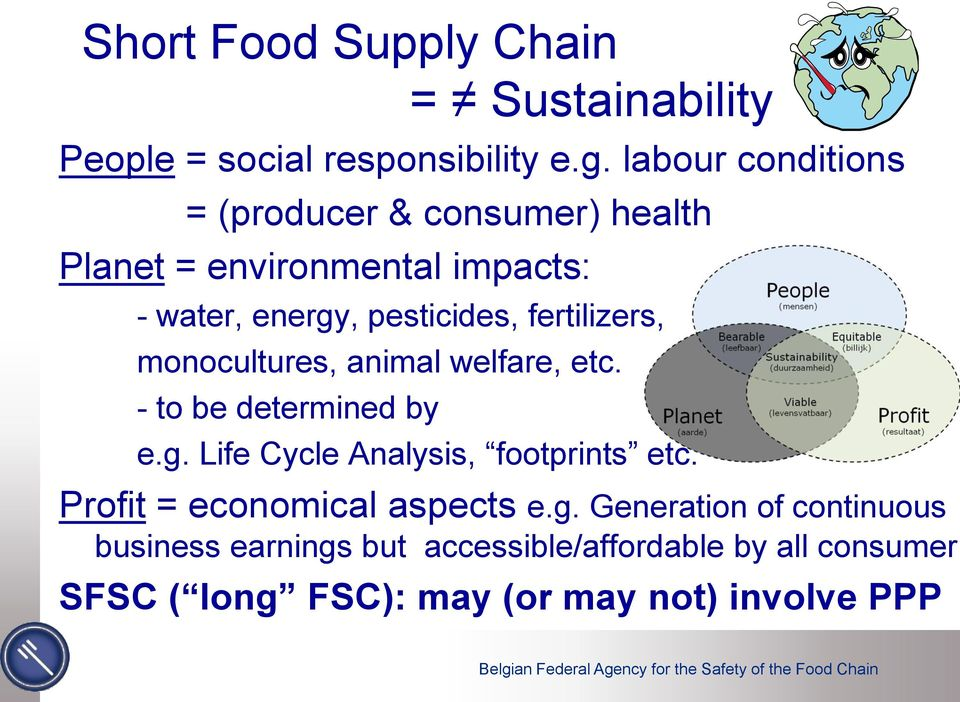 fertilizers, monocultures, animal welfare, etc. - to be determined by e.g. Life Cycle Analysis, footprints etc.