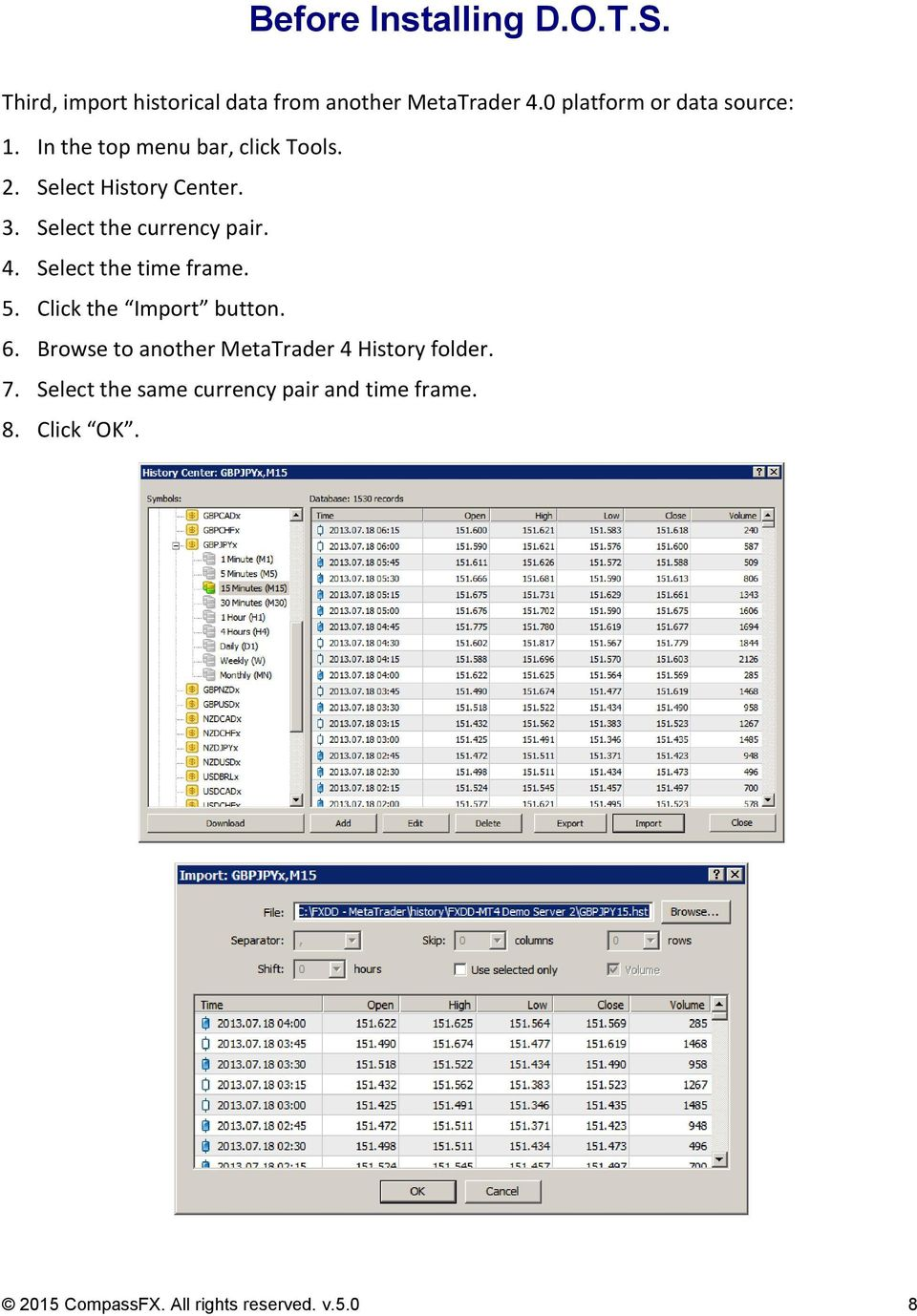 Select the currency pair. 4. Select the time frame. 5. Click the Import button. 6.