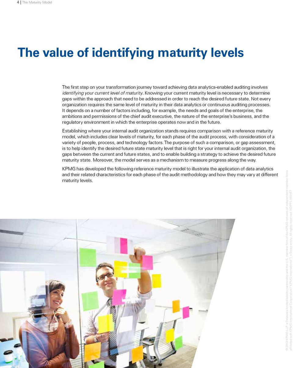 Not every organization requires the same level of maturity in their data analytics or continuous auditing processes.