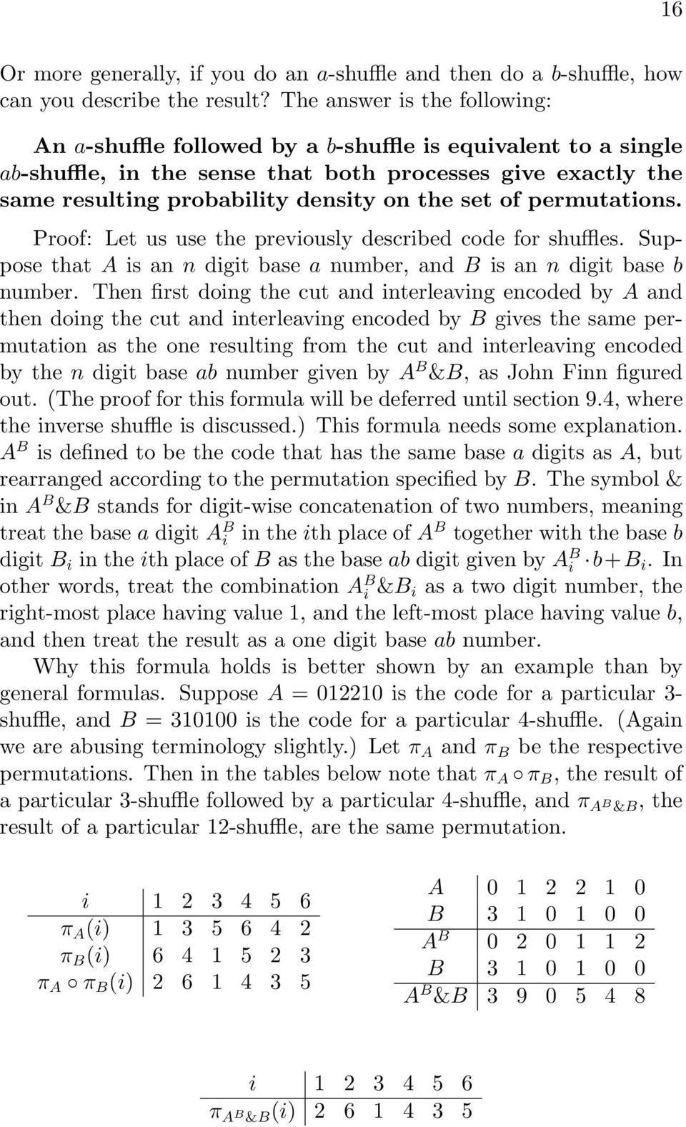 permutatios. Proof: Let us use the previously described code for shuffles. Suppose that A is a digit base a umber, ad B is a digit base b umber.