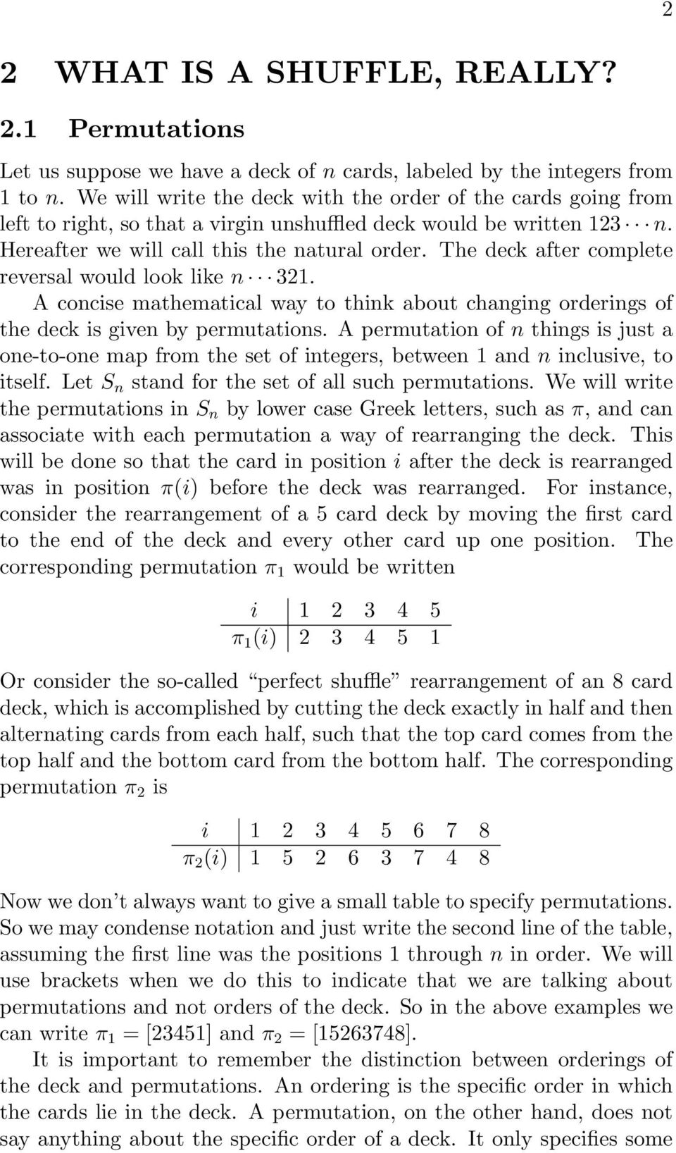 The deck after complete reversal would look like 321. A cocise mathematical way to thik about chagig orderigs of the deck is give by permutatios.