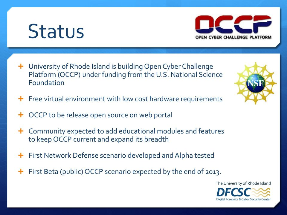 source on web portal Community expected to add educational modules and features to keep OCCP current and expand its