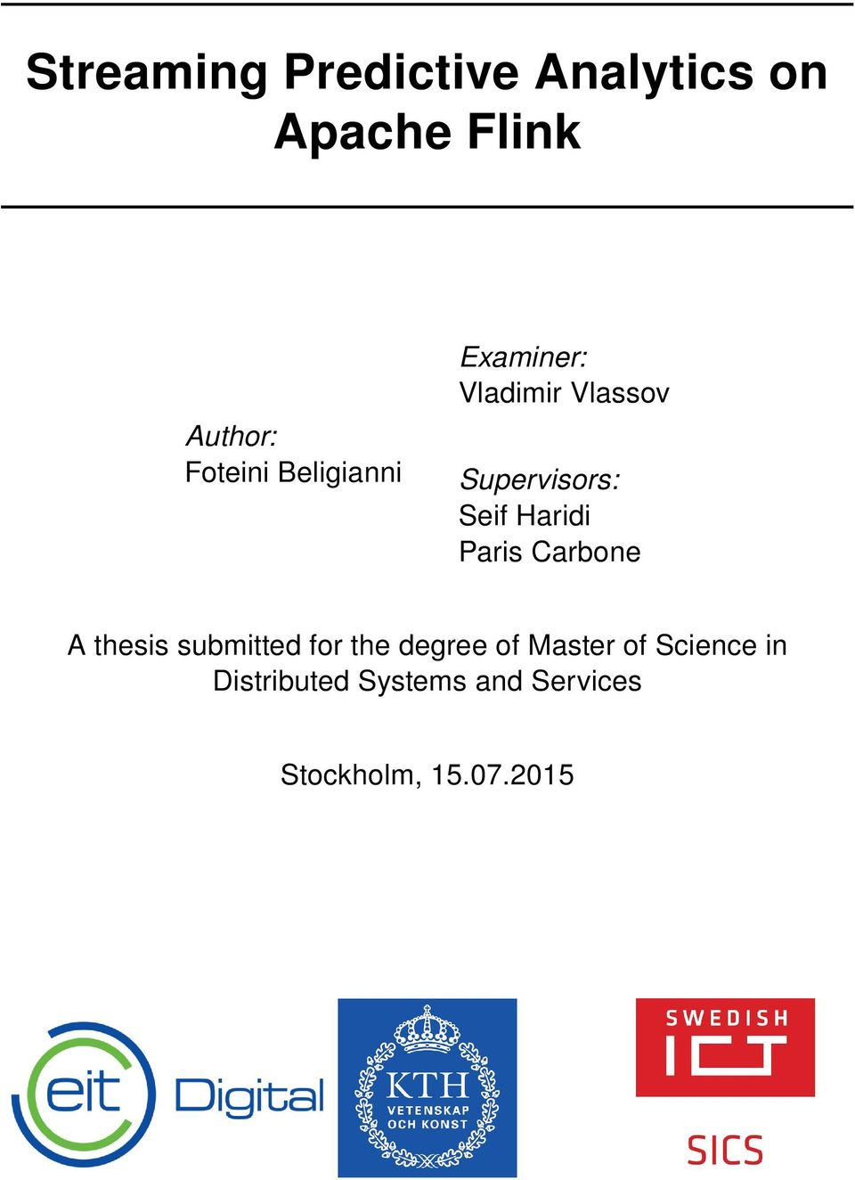 Paris Carbone A thesis submitted for the degree of Master of
