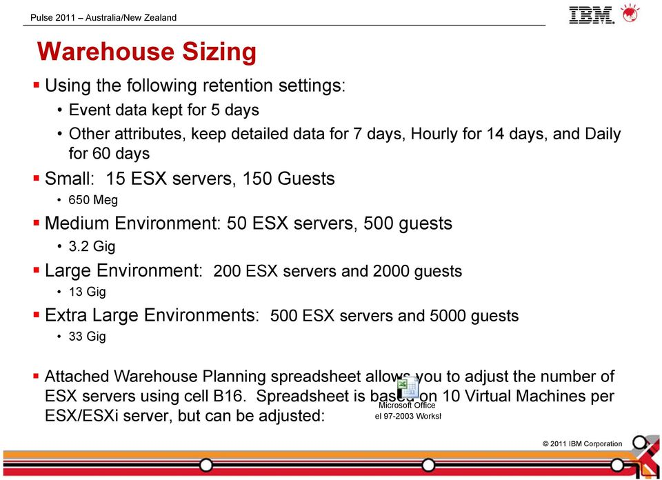 2 Gig Large Environment: 200 ESX servers and 2000 guests 13 Gig Extra Large Environments: 500 ESX servers and 5000 guests 33 Gig Attached Warehouse