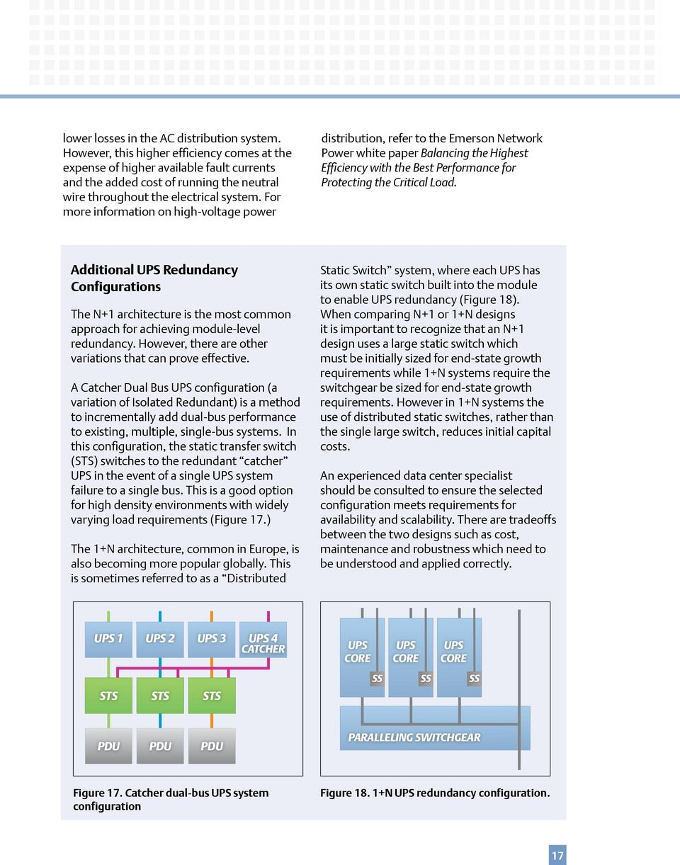 For more information on high-voltage power distribution, refer to the Emerson Network Power white paper Balancing the Highest Efficiency with the Best Performance for Protecting the Critical Load.