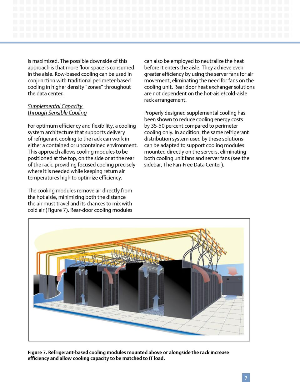 Supplemental Capacity through Sensible Cooling For optimum efficiency and flexibility, a cooling system architecture that supports delivery of refrigerant cooling to the rack can work in either a