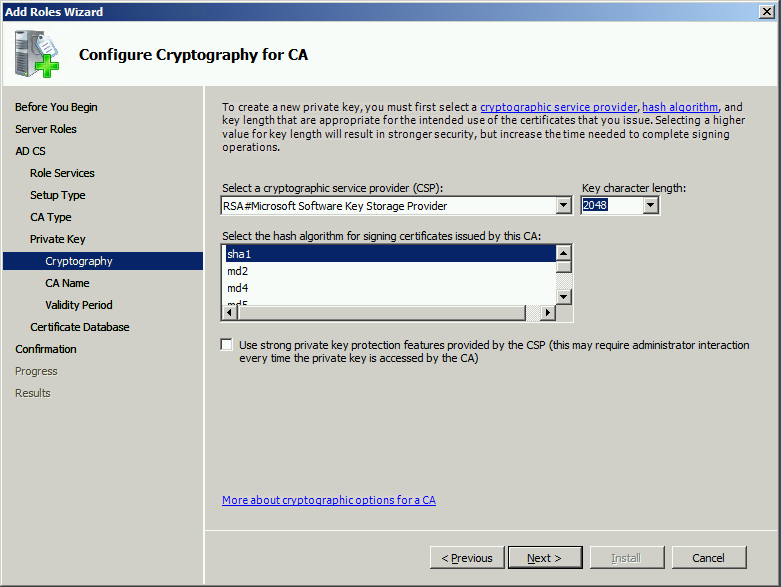 28 EventSentry Best Practices On the Configure Cryptography for CA