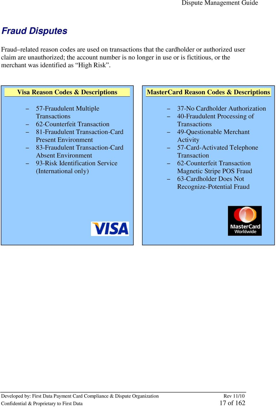 Visa Reason Codes & Descriptions 57-Fraudulent Multiple Transactions 62-Counterfeit Transaction 81-Fraudulent Transaction-Card Present Environment 83-Fraudulent Transaction-Card Absent Environment