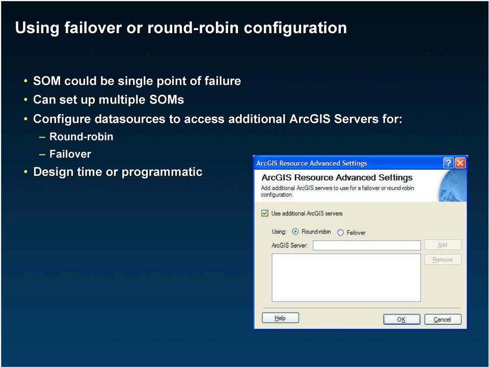 SOMs Configure datasources to access additional ArcGIS