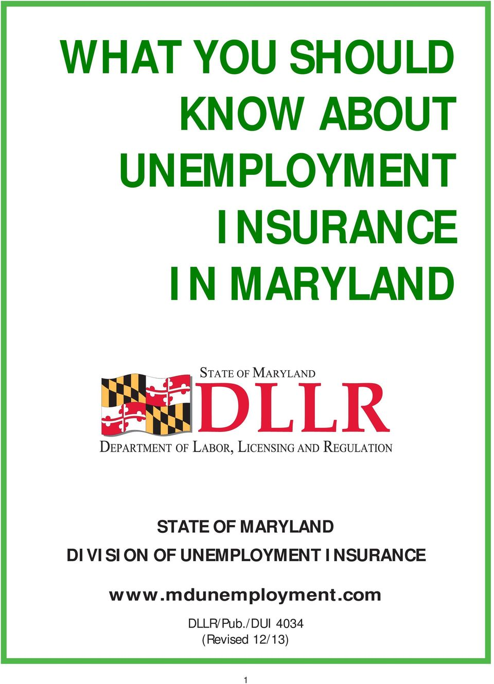 DIVISION OF UNEMPLOYMENT INSURANCE www.