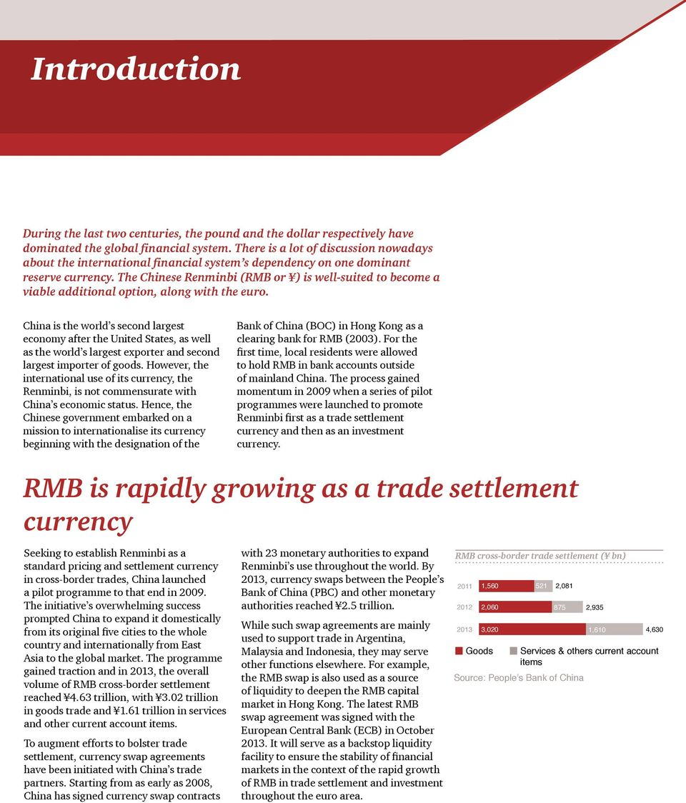 The Chinese Renminbi (RMB or ) is well-suited to become a viable additional option, along with the euro.