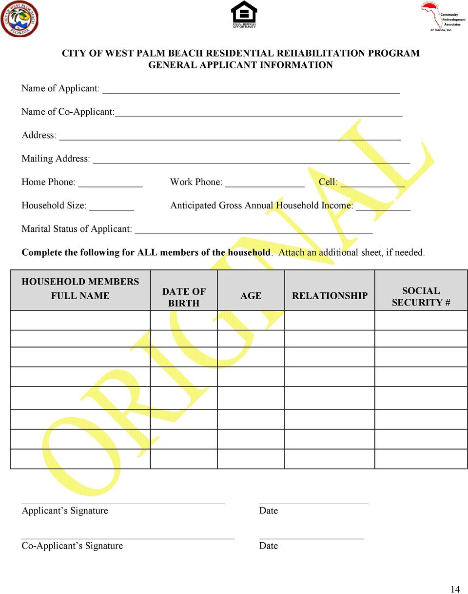 Income: Marital Status of Applicant: Complete the following for ALL members of the household.